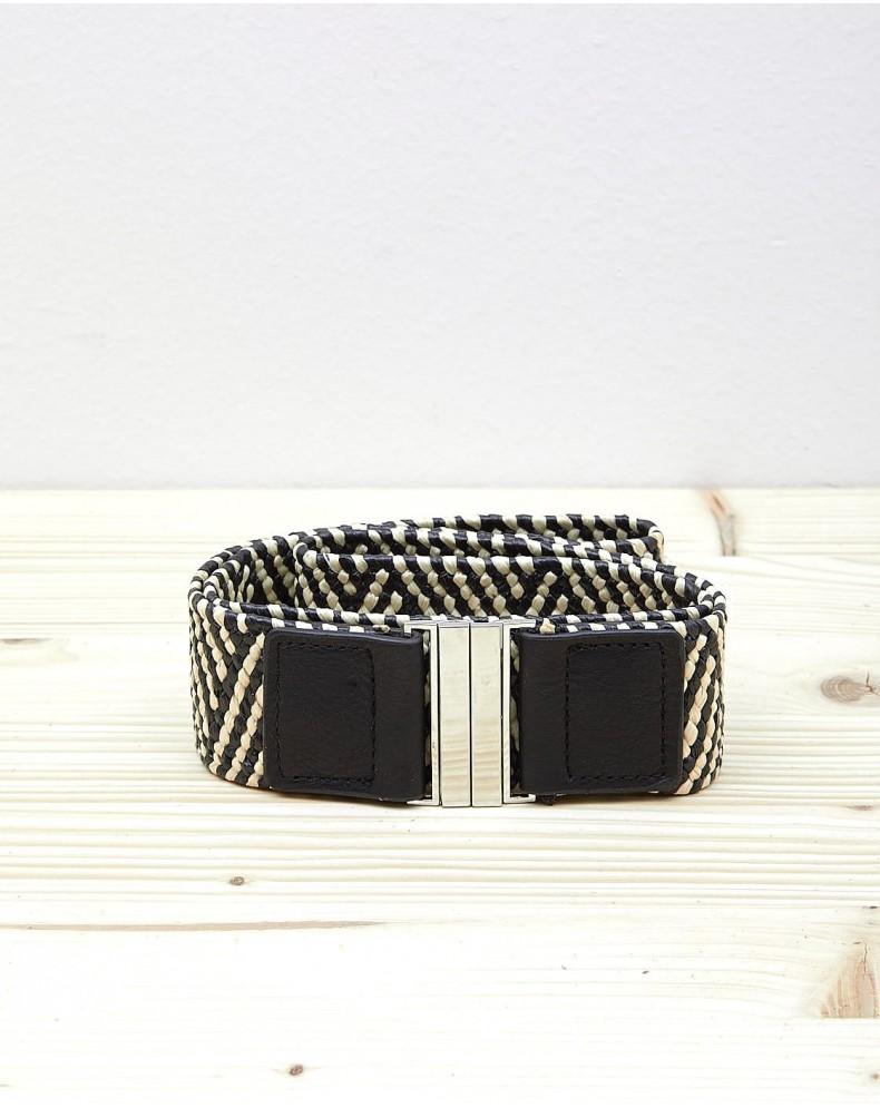 Cinturón elástico trenzado zig zag