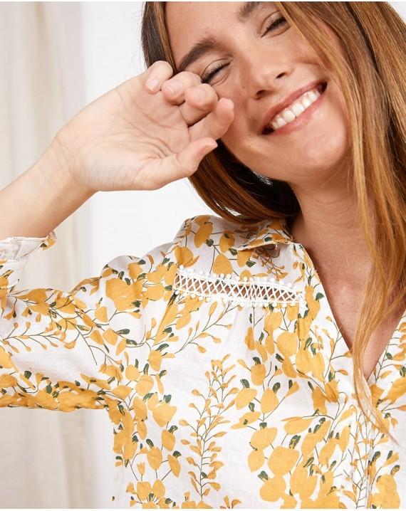 Camisa esencia floral con ribete
