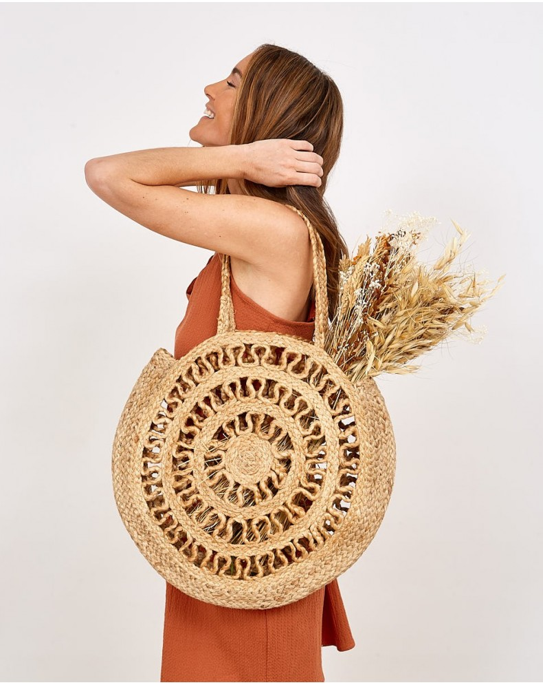 Bolso redondo shopper natural