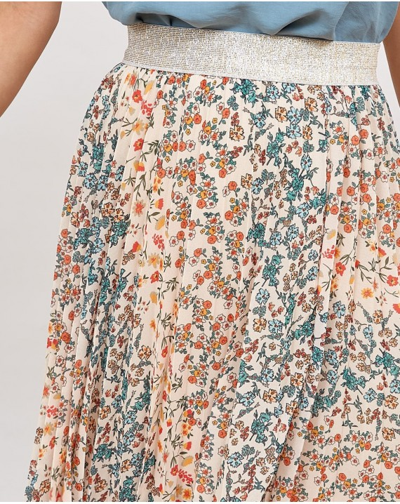 Falda midi tableada liberty