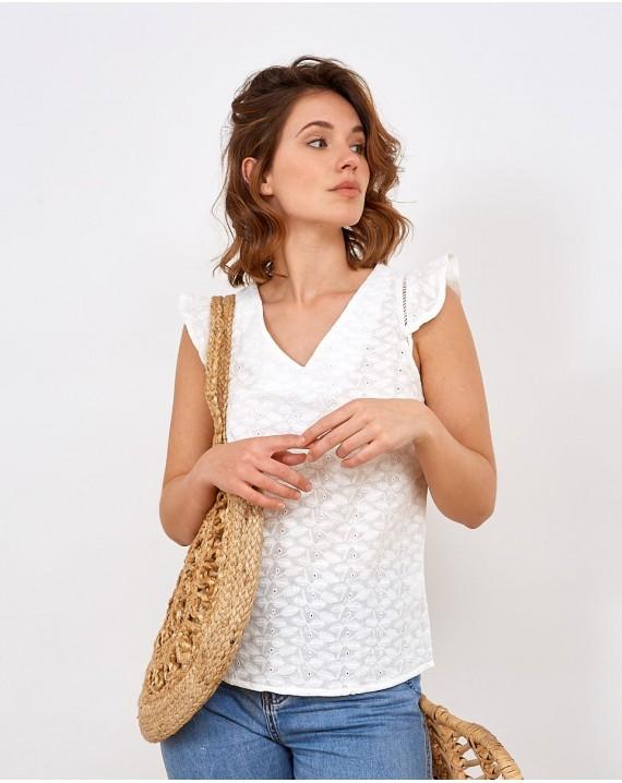 Camisa algodón bordado floral Nicola