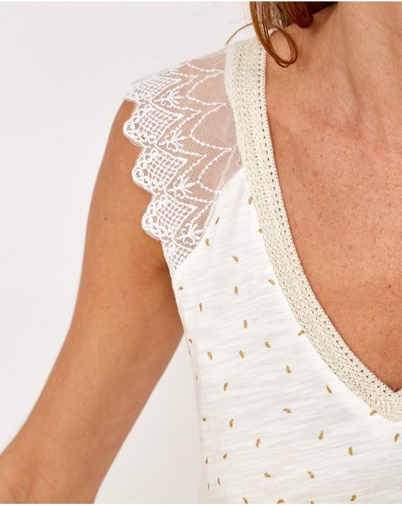 Camisa essential reflejos dorados con encaje