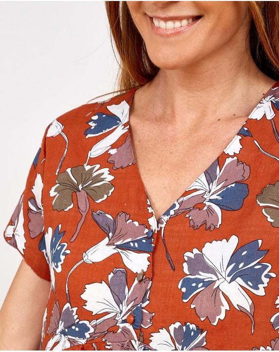 Vestido corto flores de arcilla