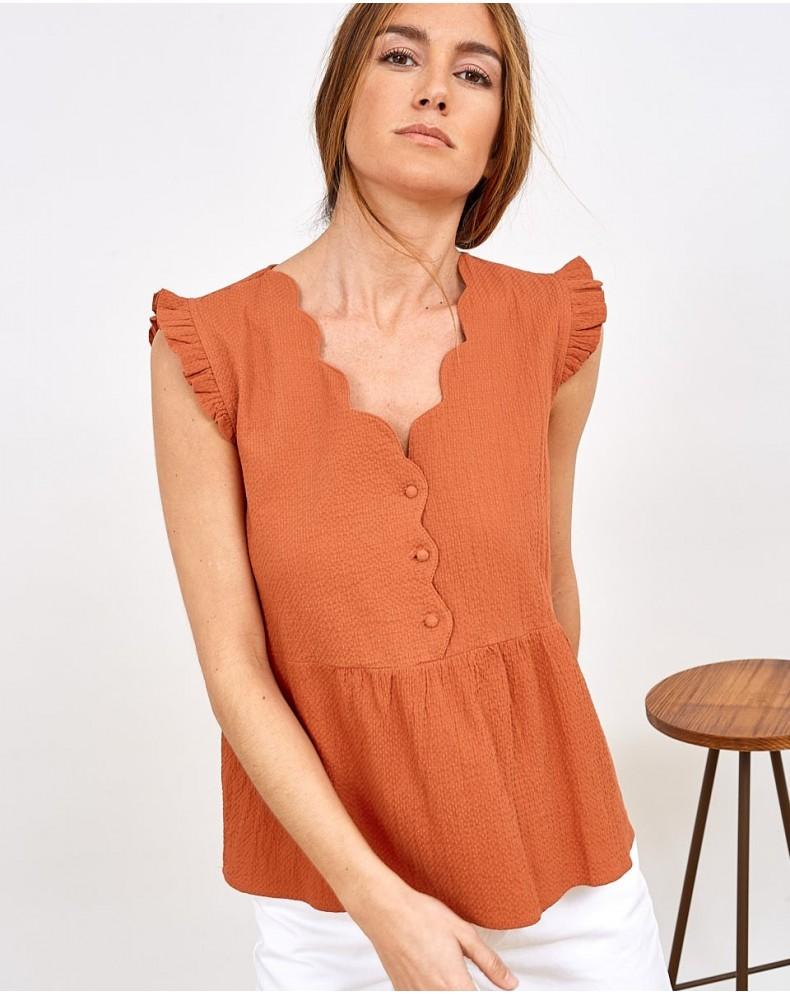 Camisa de algodón relieve onda