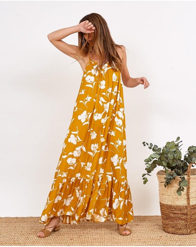 Vestido floral mostaza Melisa