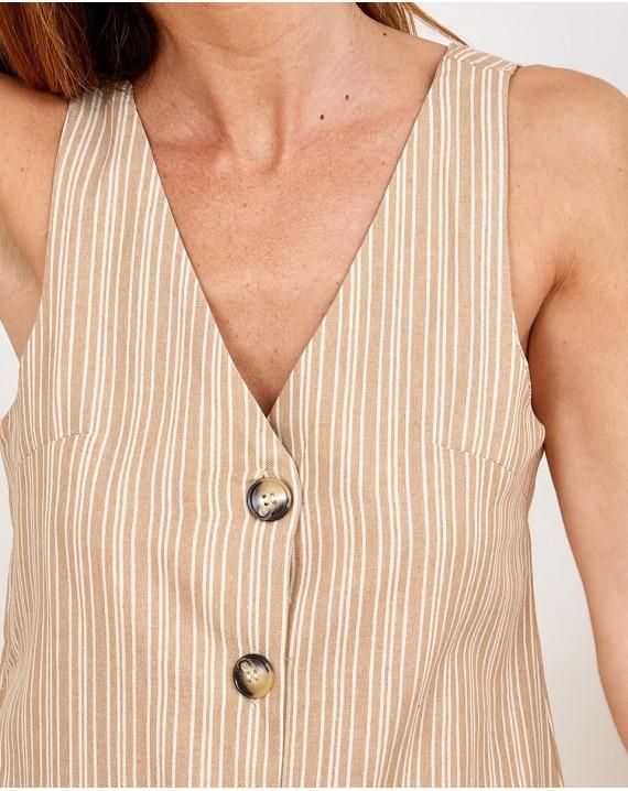 Vestido botones rayas beige Sophie