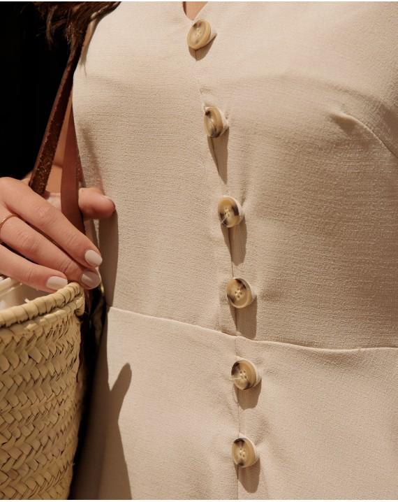 Vestido botones beige