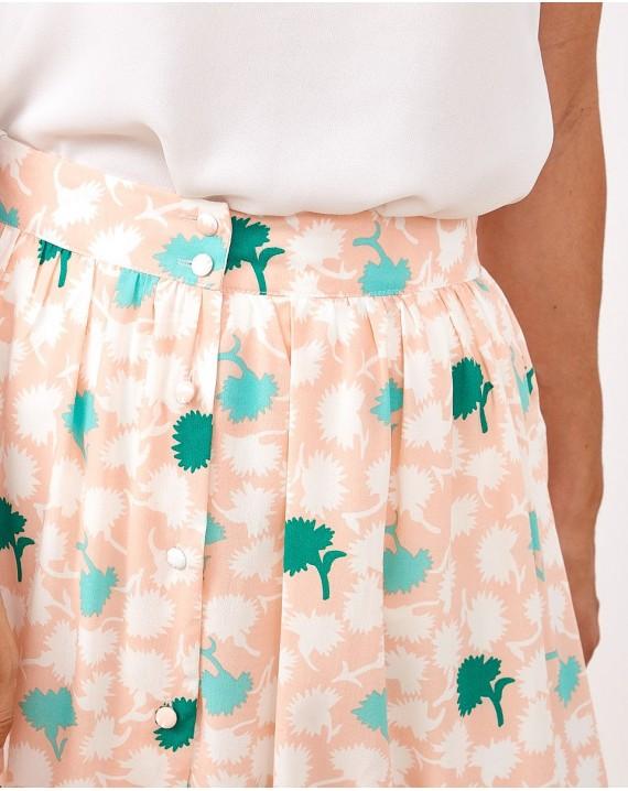 Falda midi palmeras