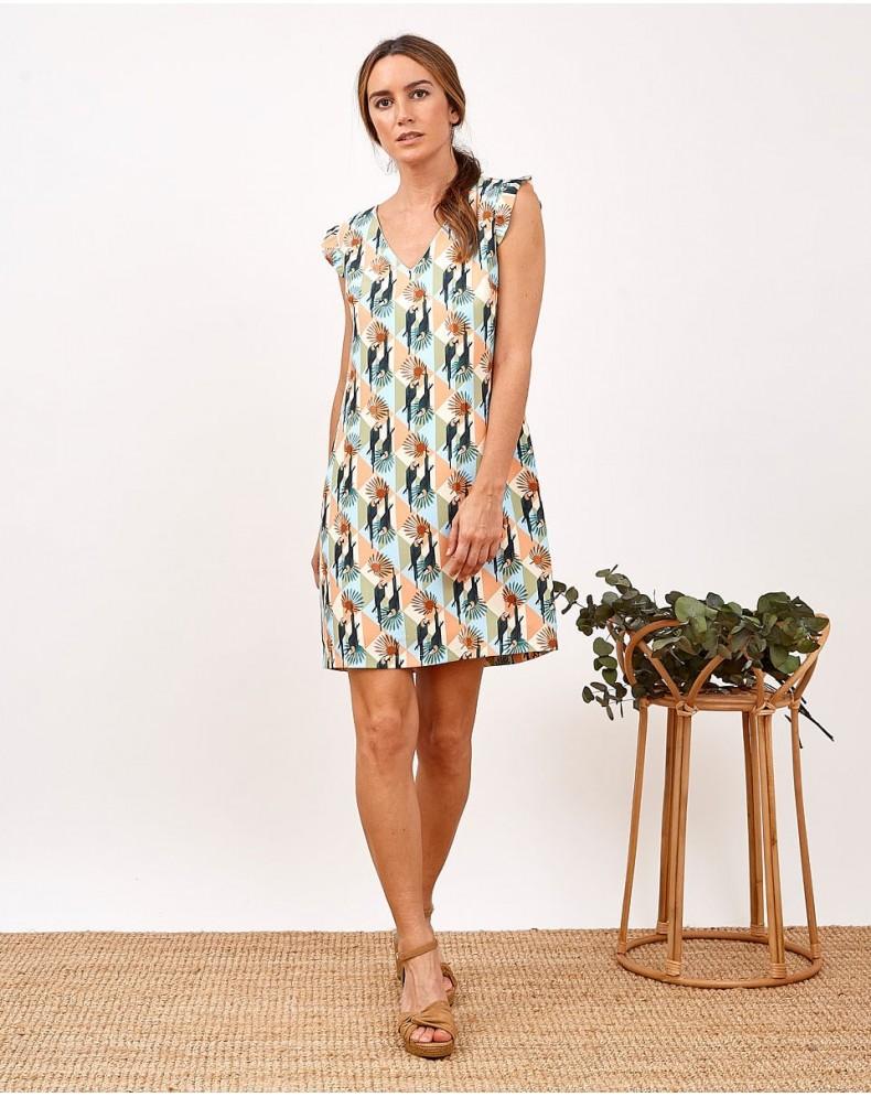 Vestido multicolor tropical