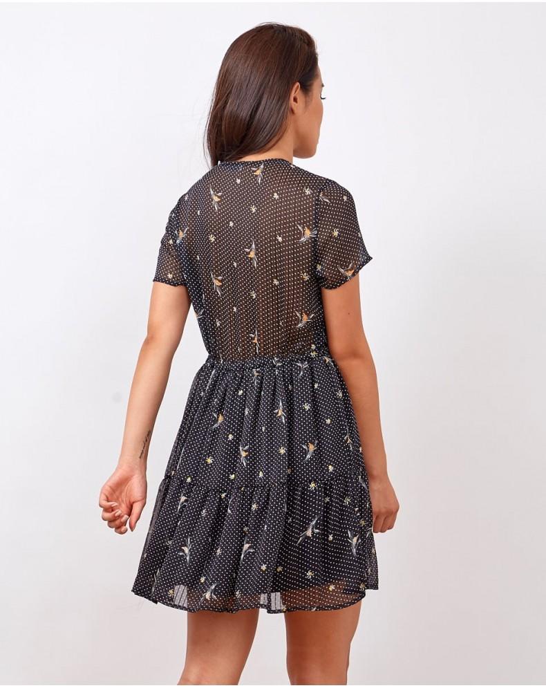Vestido corto polka dots y flores