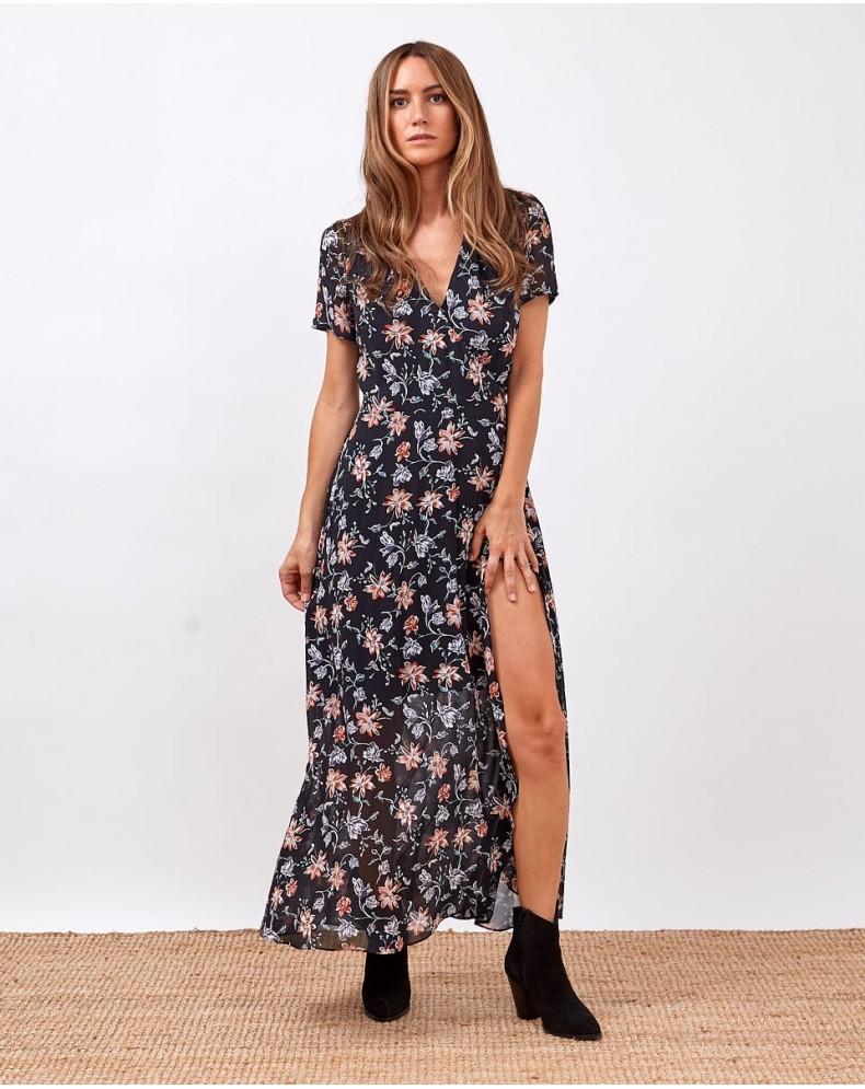 Vestido envolvente flores silvestres