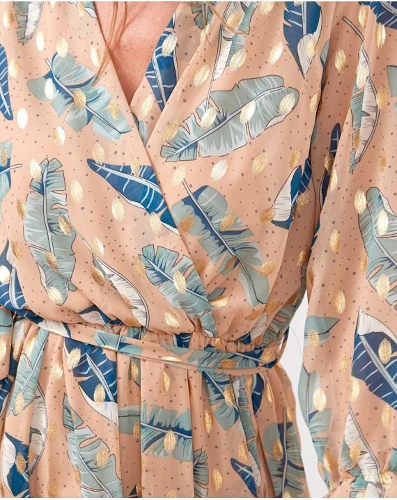 Vestido largo hojas Silvia