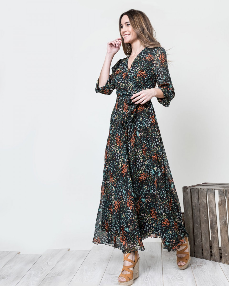 a95a578a Vestido largo flores liberty en negro|Vestidos largos | Vestidos ...