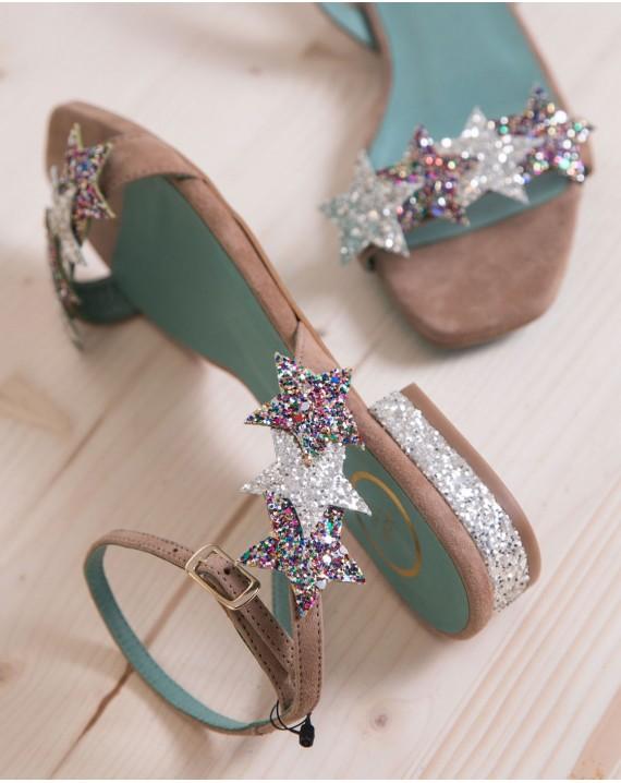 Sandalia estrellas y gliter