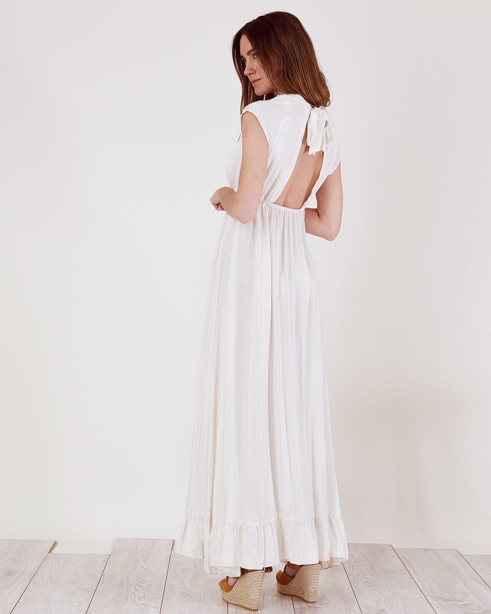 Vestido Largo Blanco Reflejos Dorados Vestidos Largos Verano 2018 - Vestido-blanco-largo-ibicenco