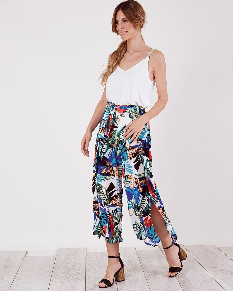 Pantalón Cropped Tropical Con Estampado Palazzo Loros FR7cqY6w7