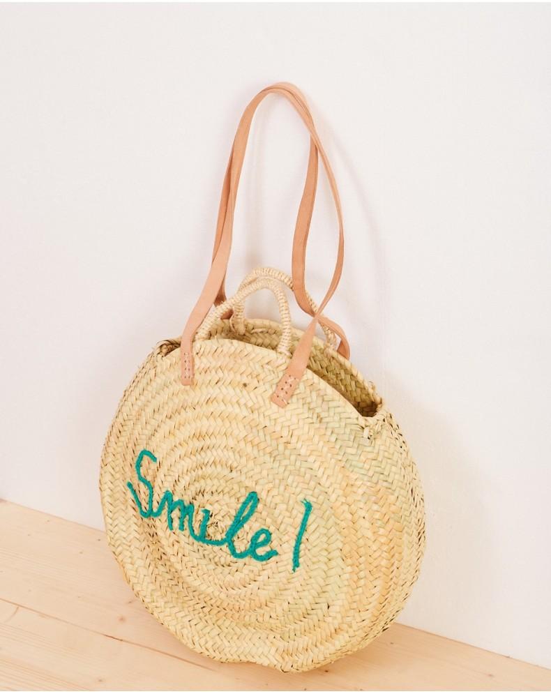 Bolso de paja redondo bordado Smile