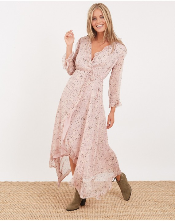 Vestido largo romántico rosa
