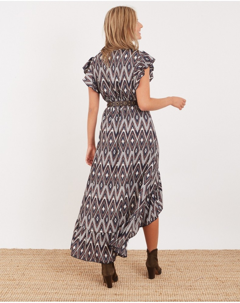 Vestido desigual estampado geométrico