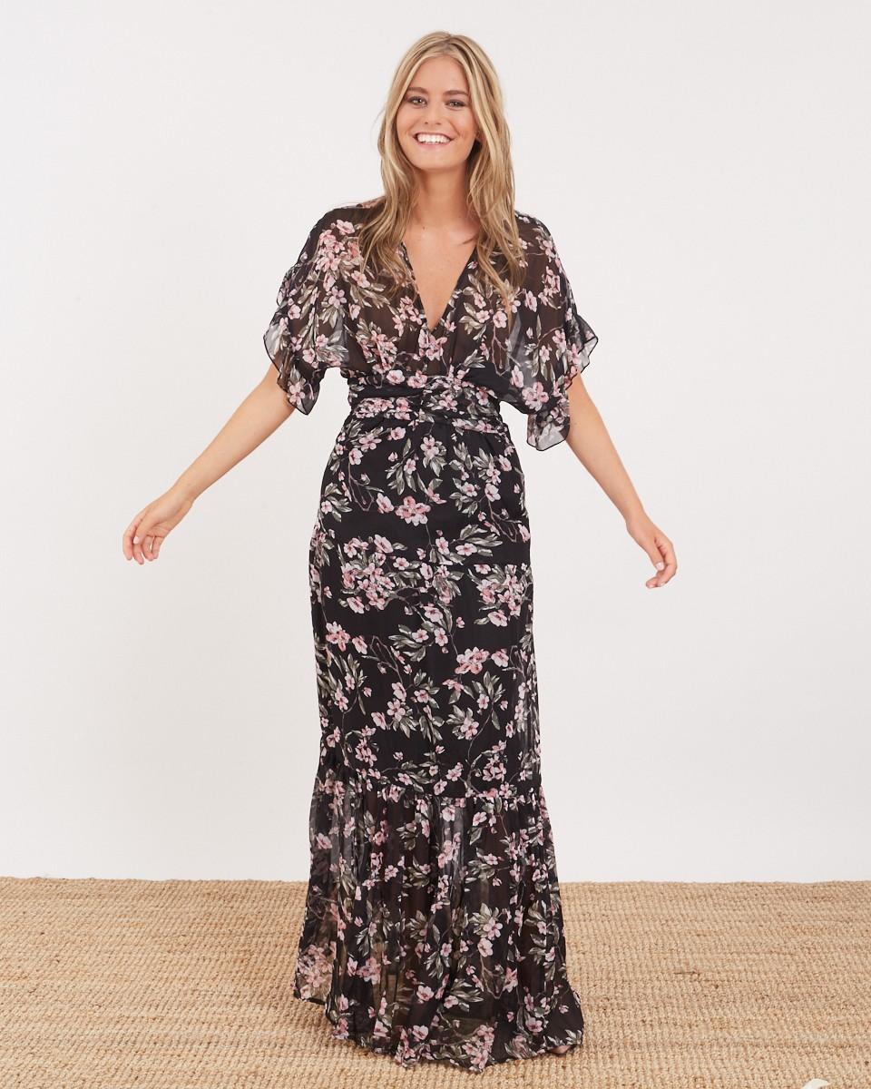 e0965ce37a Vestido largo romántico flores negro - Polín et moi