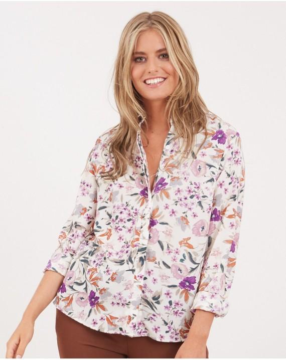 Camisa flores malva