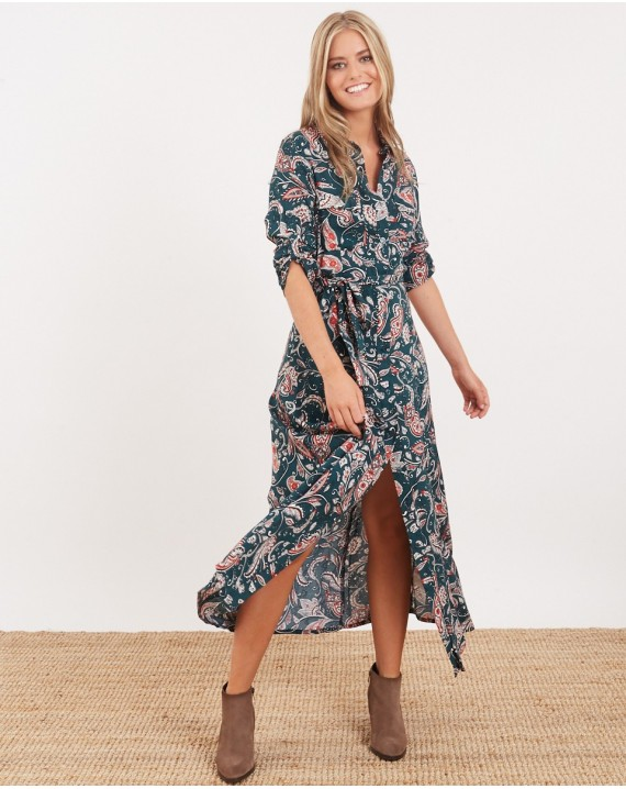 Vestido largo camisero paisley