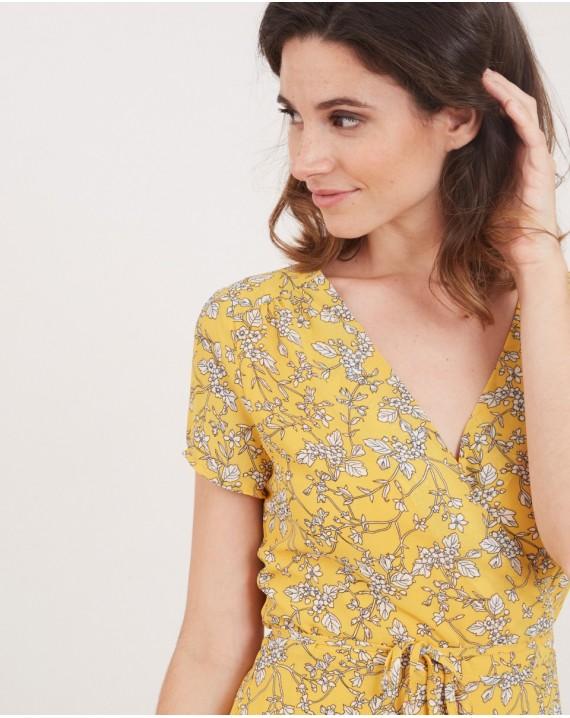 Vestido cruzado floral amarillo