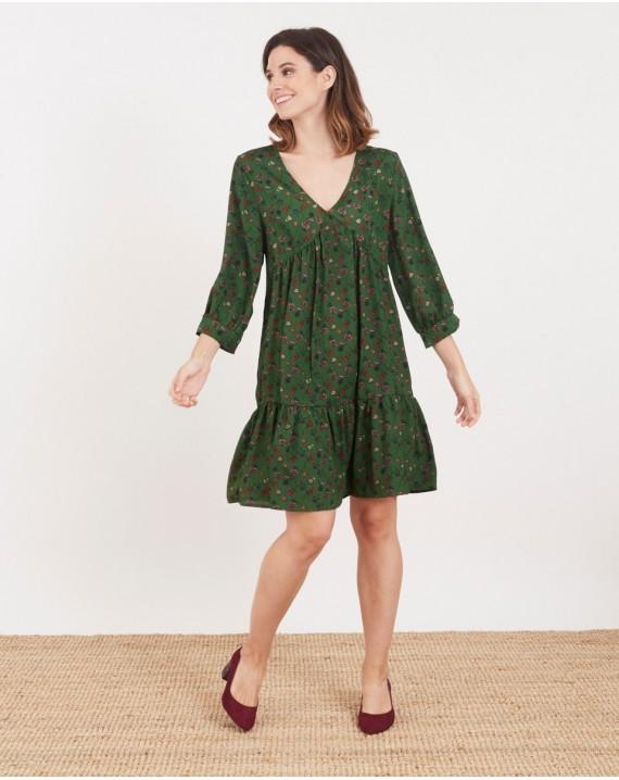 Vestido con vuelo print floral verde
