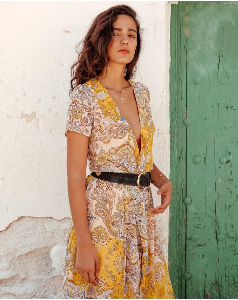 Vestido largo amarillo cachemir