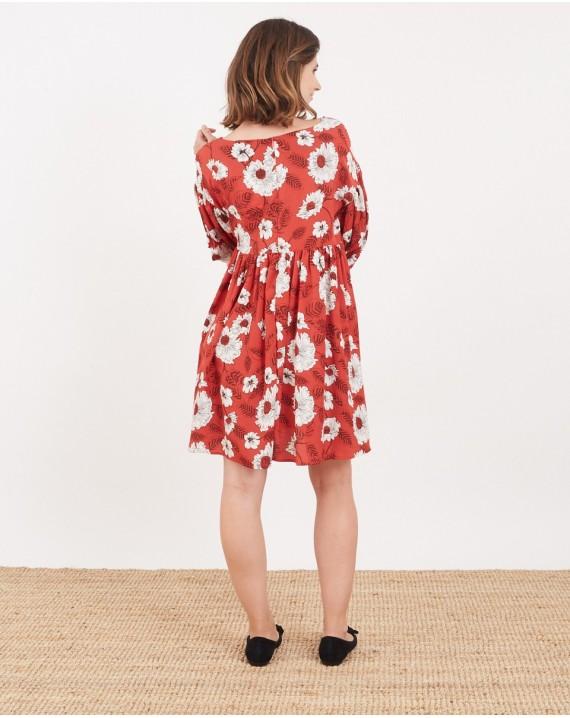 Vestido babydoll rojo floral