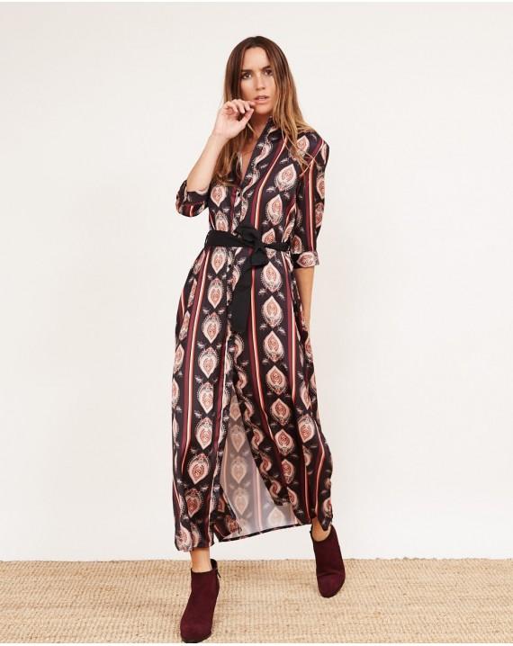 moda de lujo recogido precio Vestido camisero lazada paisley