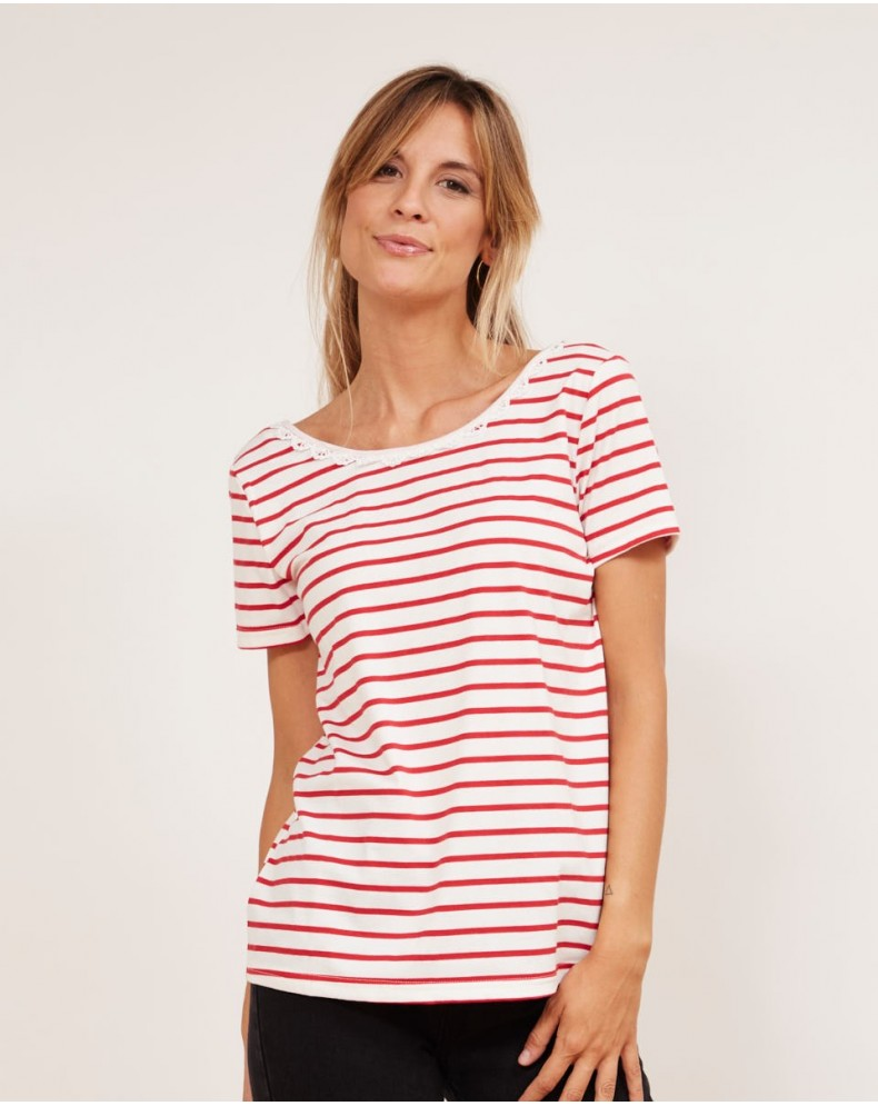 Camiseta rayas cuello redondo encaje