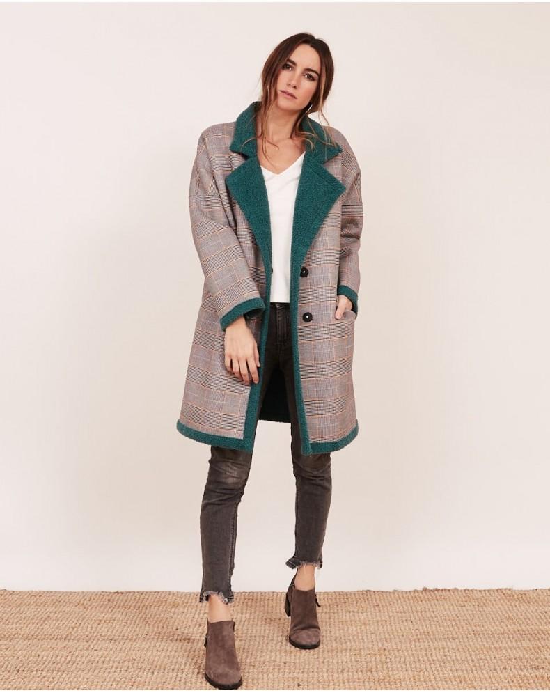 Abrigo borreguito a cuadros esmeralda